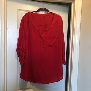 Plus size red chiffon blouse